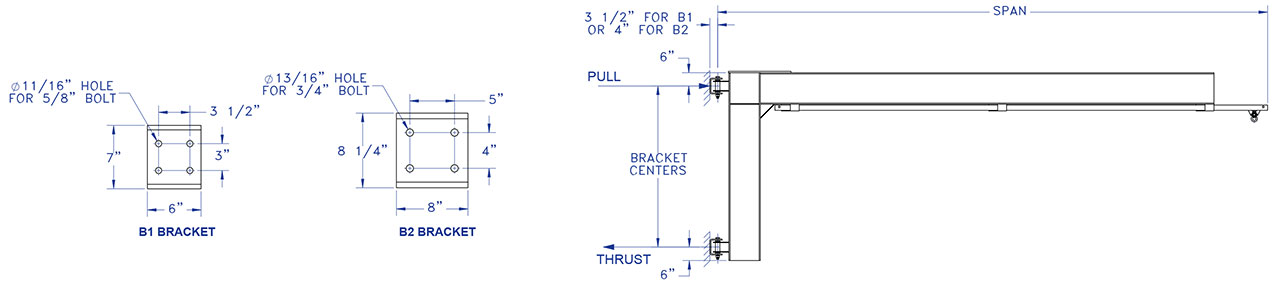 Wall Mounted Swing Arm Tether Track System Drawing