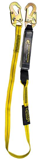 Guardian External Shock Lanyard, 4 ft. Single Leg w/ Snap Hooks, Ext. Shock Pack