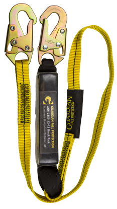 Guardian External Shock Lanyard, 6 ft. Single Leg w/ Snap Hooks, Ext. Shock Pack