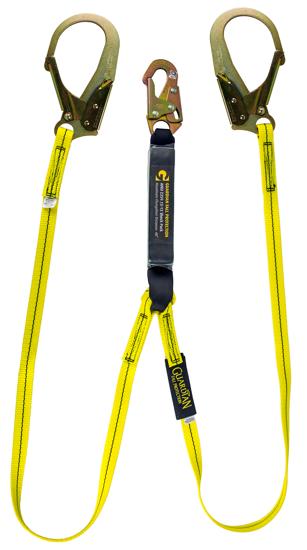 Guardian External Shock Lanyard, 6 ft. Double Leg w/ Rebar Hooks, Snap Hook, Ext. Shock Pack