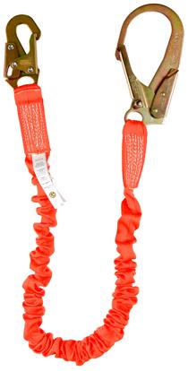 Guardian Shock Absorbing Stretch Lanyard, 4.5 - 6 ft., Single Leg w/ Rebar Hook