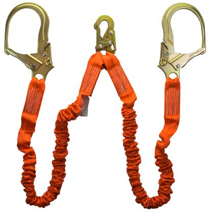 Guardian Shock Absorbing Stretch Lanyard, 4.5 - 6 ft., Double Leg w/ Rebar Hooks