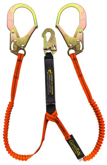Guardian Tiger Tail Stretch Lanyard, 4.5 - 6 ft., Double Leg w/ Rebar Hooks