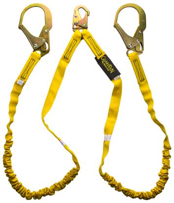 Guardian Internal Shock Lanyard, 6 ft. Double Leg w/ Rebar Hooks