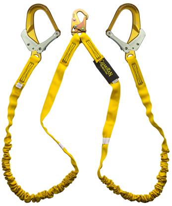 Guardian Internal Shock Lanyard, 6 ft. Double Leg w/ Aluminum Snap and Rebar Hooks