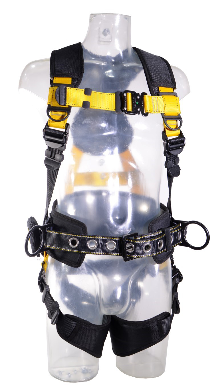Guardian Series 5 Full-Body Harness w/ Waist Pad, Quick-Connect Chest and Legs, Side D-Rings, Front