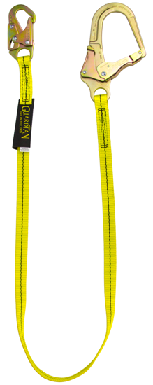 Guardian Non-Shock Absorbing Lanyard, 4 ft. Single Leg w/ Rebar Hook