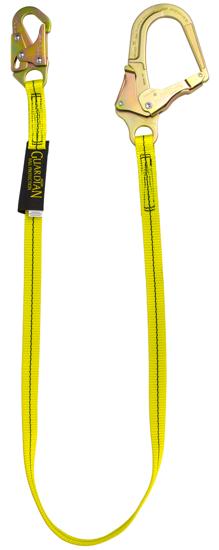 Guardian Non-Shock Absorbing Lanyard, 6 ft. Single Leg w/ Rebar Hook