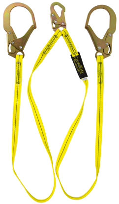 Guardian Non-Shock Absorbing Lanyard, 6 ft. Double Leg w/ Rebar Hook
