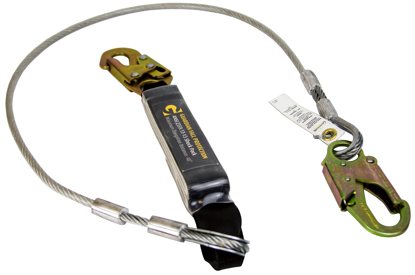 Guardian Cable Lanyard, 6 ft. Single Leg w/ Snap Hooks, Shock Absorber