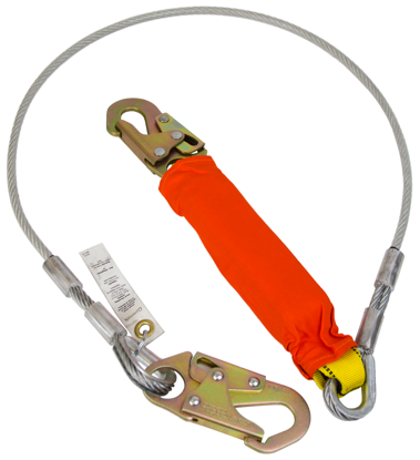 Guardian Coated Cable Lanyard, 6 ft. Single Leg w/ Removable Flame Resistant Cover
