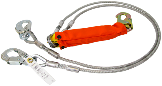 Guardian Coated Cable Lanyard, 6 ft. Double Leg w/ Removable Flame Resistant Cover