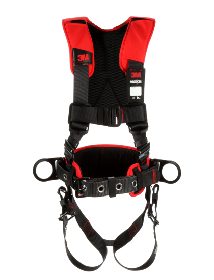 Protecta Comfort Construction-Style Harness, Pass-Through Chest, Tongue-Buckle Legs, Side D-Rings, Front