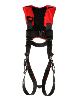 Protecta Standard Construction-Style Harness, Pass-Through Chest, Tongue-Buckle Legs, Side D-Rings, Front