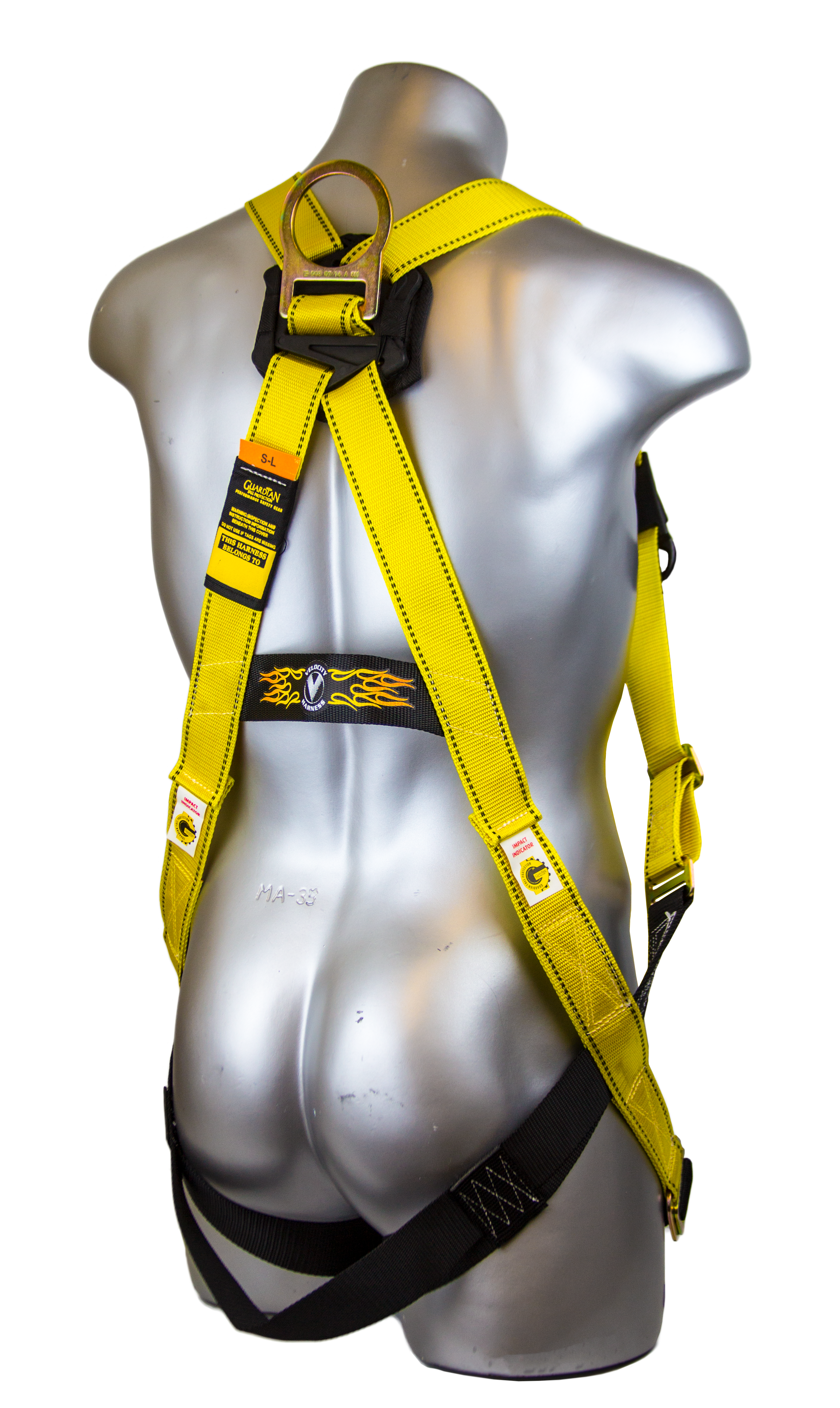 Guardian Velocity Harness, Pass-Through Chest and Legs, Back