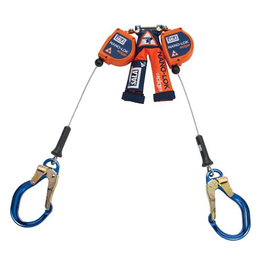 3M   DBI-SALA Nano-Lok Edge SRL, Twin-Leg, Cable w/ Aluminum Rebar Lock Hooks, 8 ft.