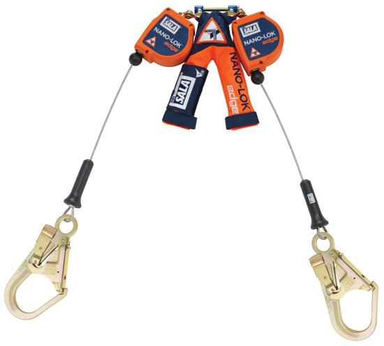 3M   DBI-SALA Nano-Lok Edge SRL, Twin-Leg, Cable w/ Steel Rebar Hooks, 7.3 ft.