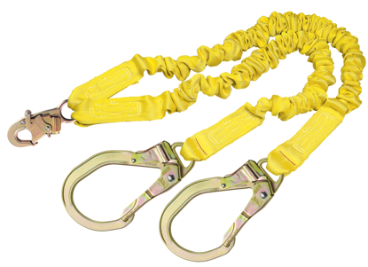 ShockWave 2 Shock Absorbing Lanyard, 6 ft. Twin-Leg w/ Steel Rebar Hooks