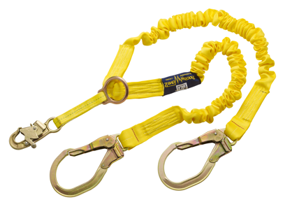 ShockWave 2 Shock Absorbing Rescue Lanyard, 6 ft. Twin-Leg w/ Steel Rebar Hooks