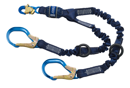 ShockWave 2 Force2 Shock Absorbing Rescue Lanyard, 6 ft. Twin-Leg w/ Aluminum Rebar Hooks