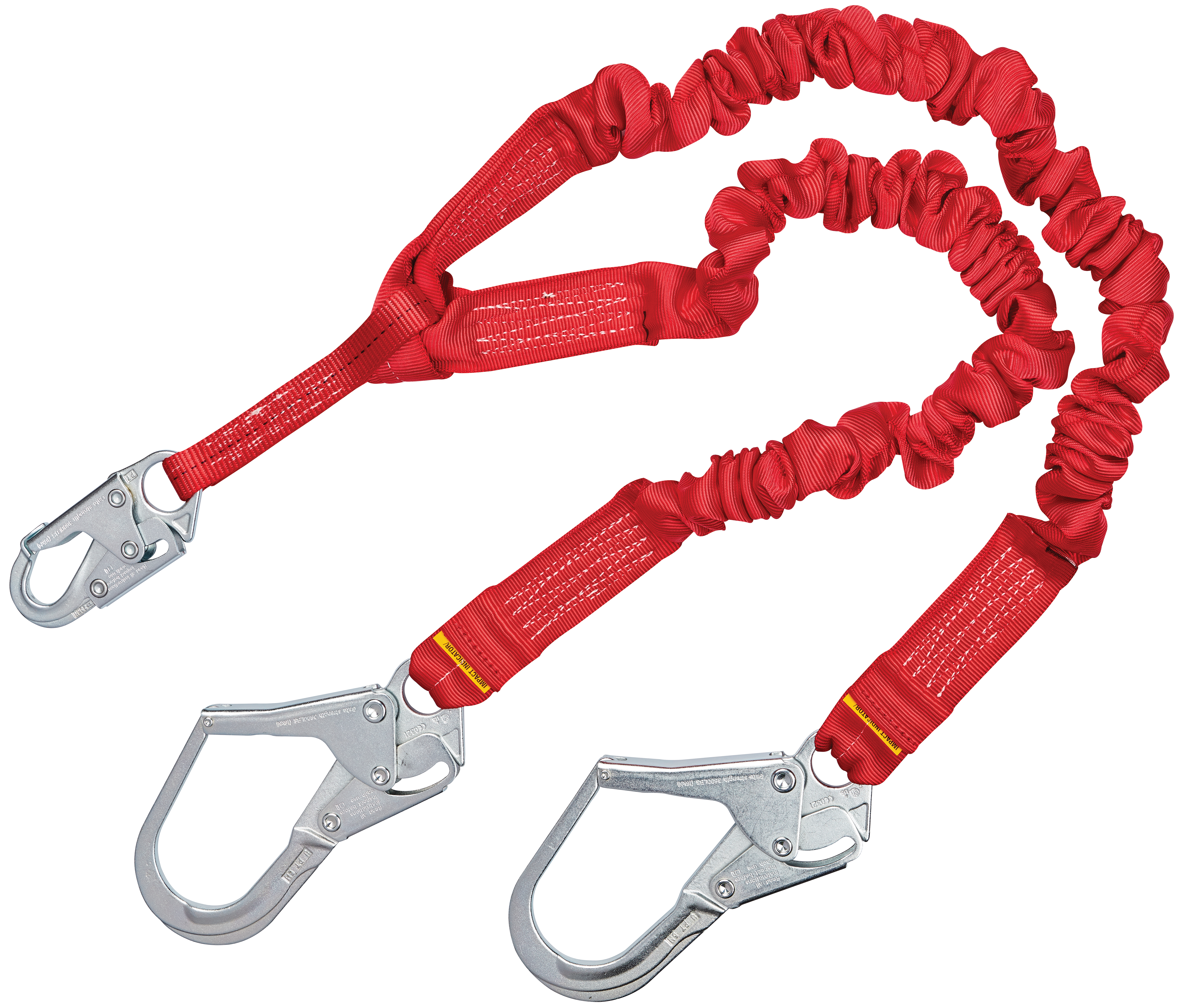 6-Foot Single Leg Safety Fall Protection Stretch Shock Absorbing Lanyard with Snap and Rebar Hook Connectors