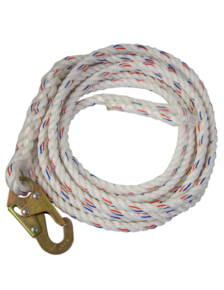 Guardian Polydac Rope Vertical Lifeline w/ Snap Hook End
