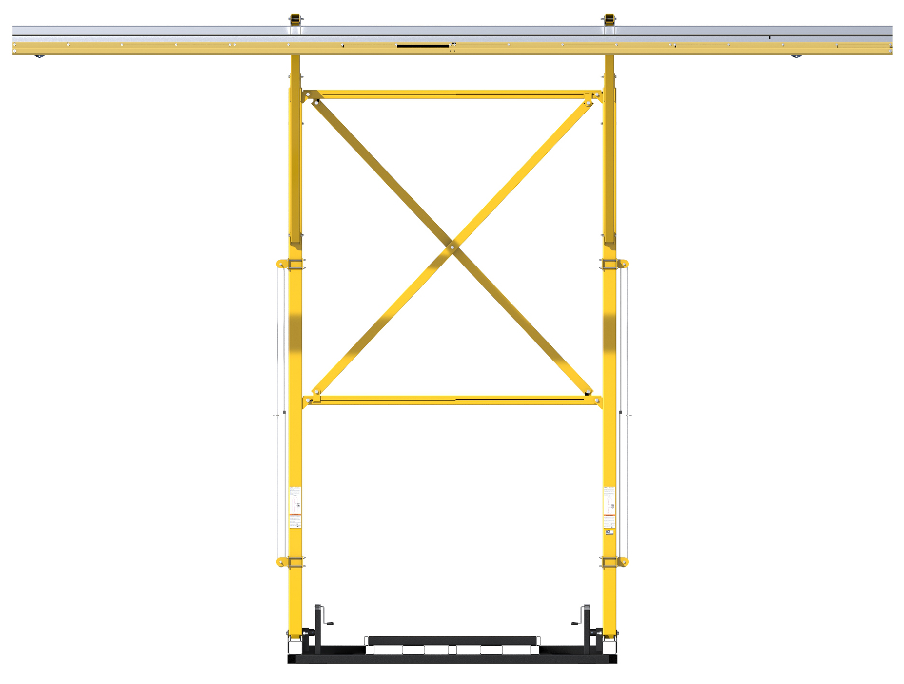 FlexiGuard Counterweighted Overhead Rail Fall Arrest System,  No Counterweights, Front View