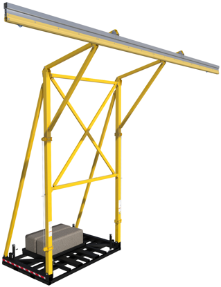 FlexiGuard Counterweighted Overhead 42 ft. Rail Fall Arrest System, 22 ft. Ht., Counterweights Included