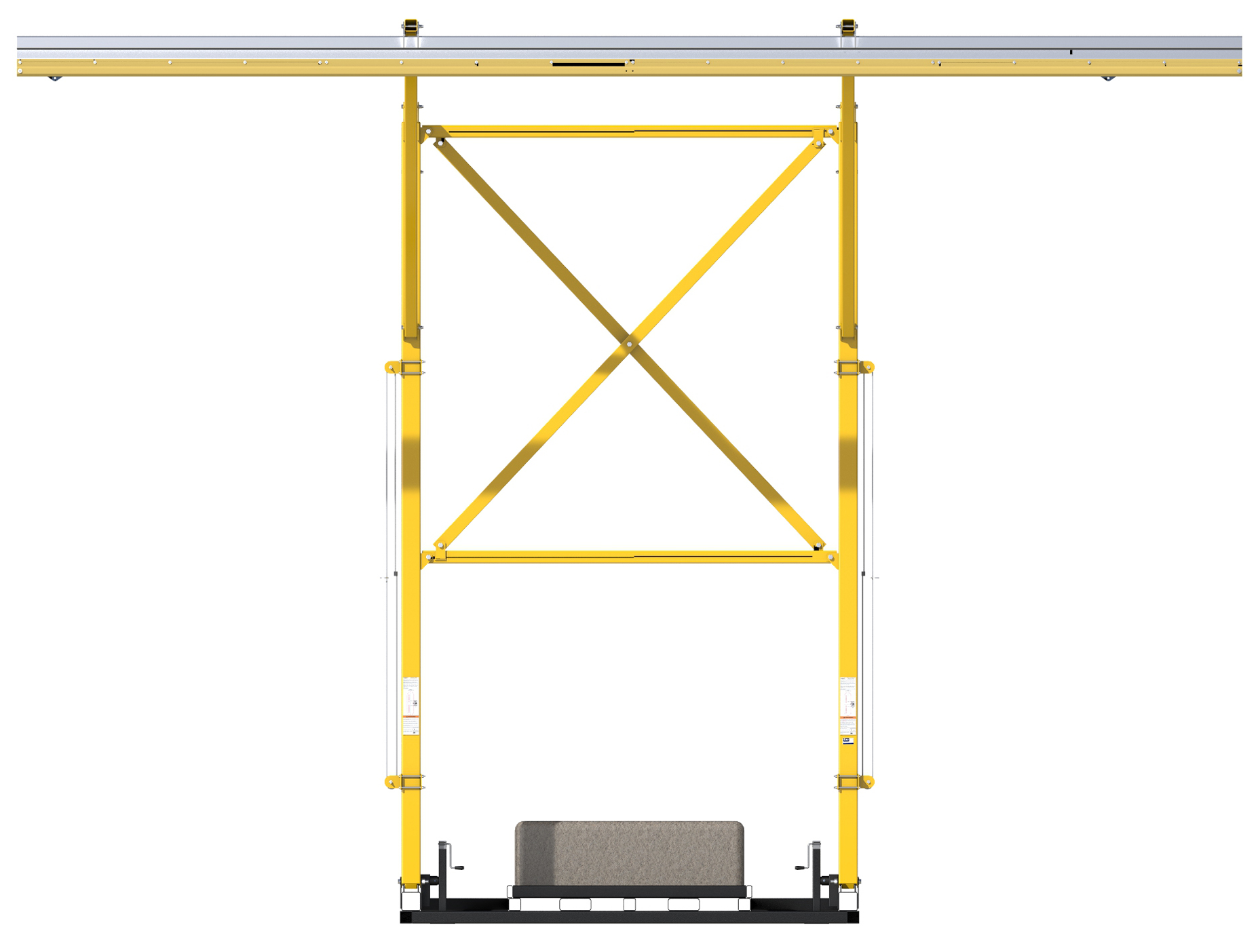 FlexiGuard Counterweighted Overhead 42 ft. Rail Fall Arrest System, 22 ft. Ht., Counterweights Included, Front View