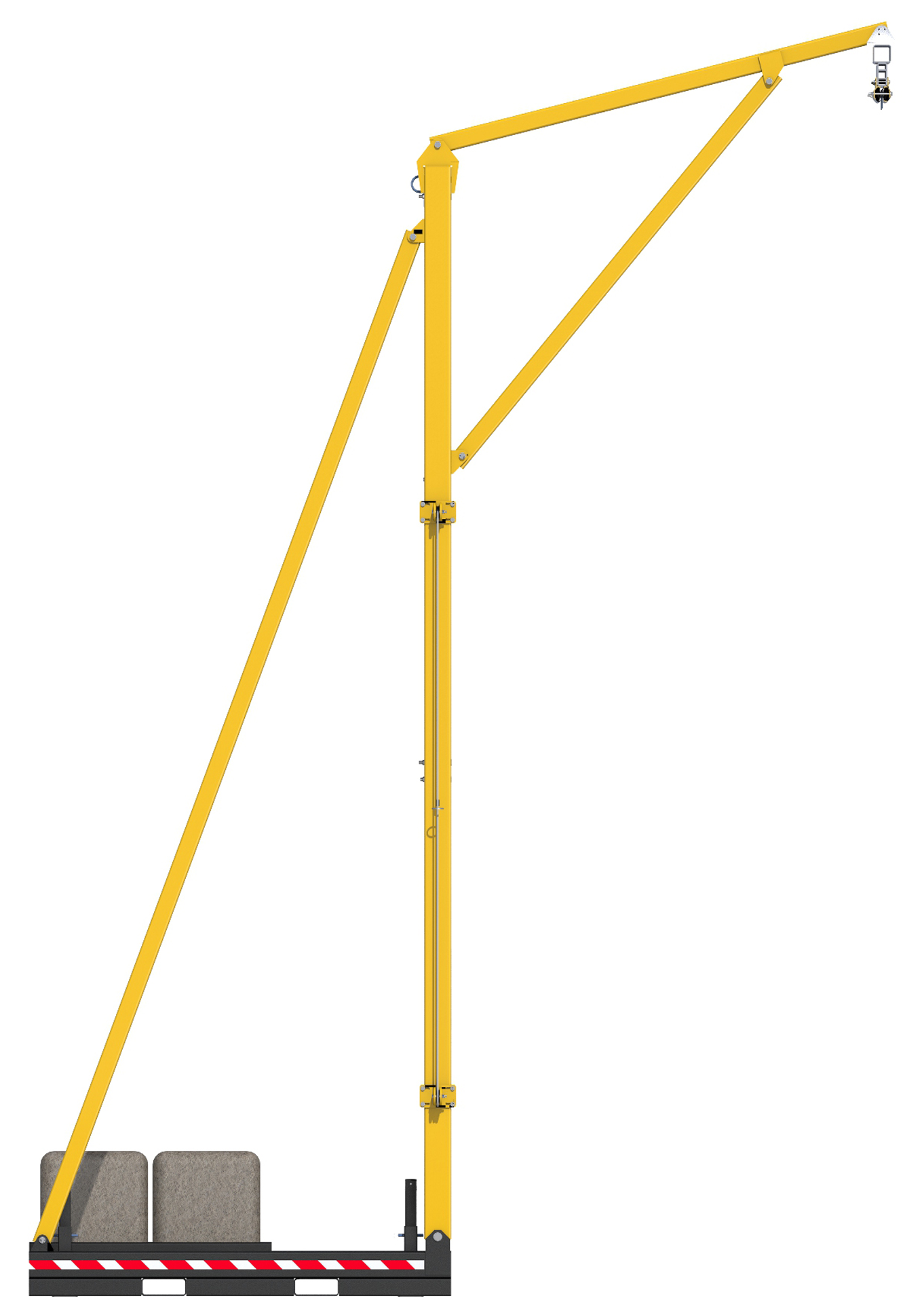 FlexiGuard Counterweighted Overhead 42 ft. Rail Fall Arrest System, 22 ft. Ht., Counterweights Included, Side View