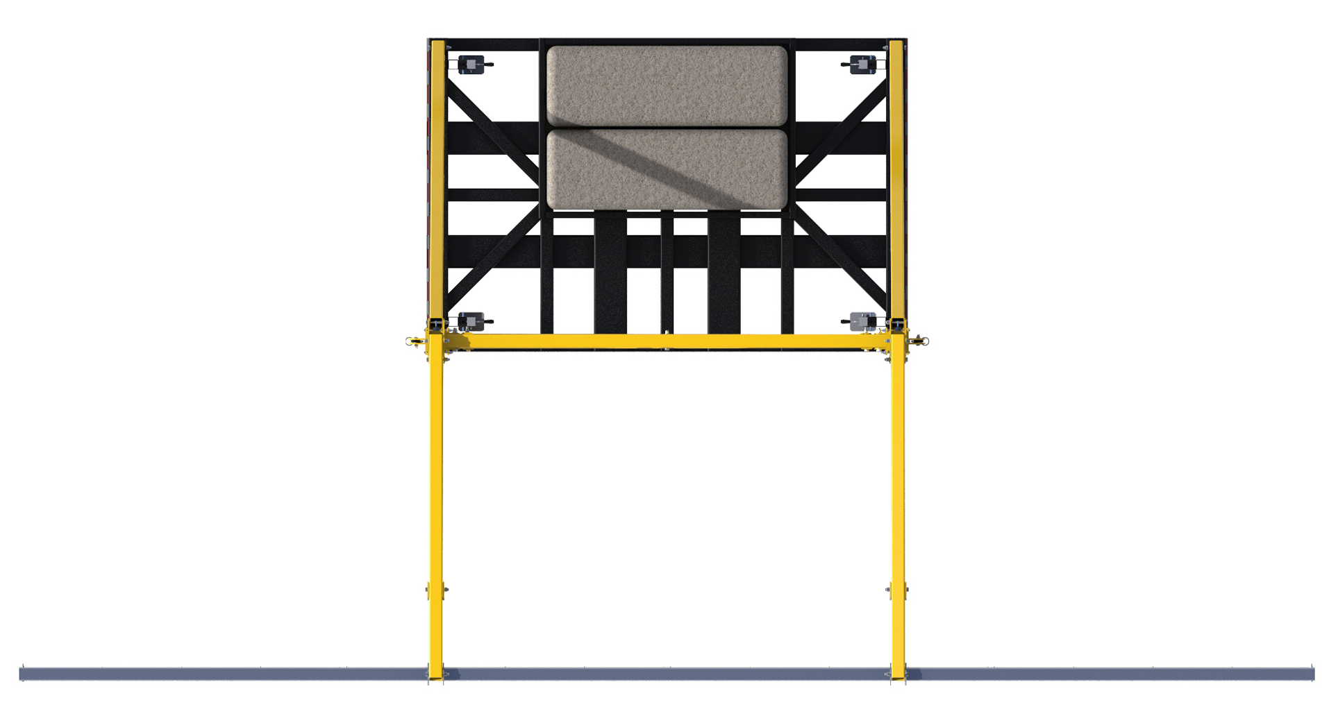 FlexiGuard Counterweighted Overhead 42 ft. Rail Fall Arrest System, 22 ft. Ht., Counterweights Included, Top View